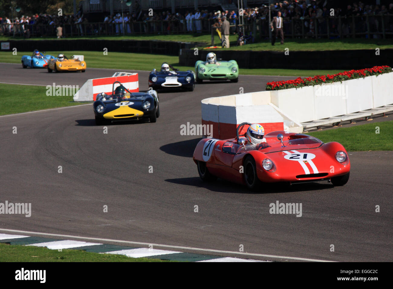 The chicane provides an excellent viewpoint / Goodwood Revival / Goodwood / UK - Stock Image