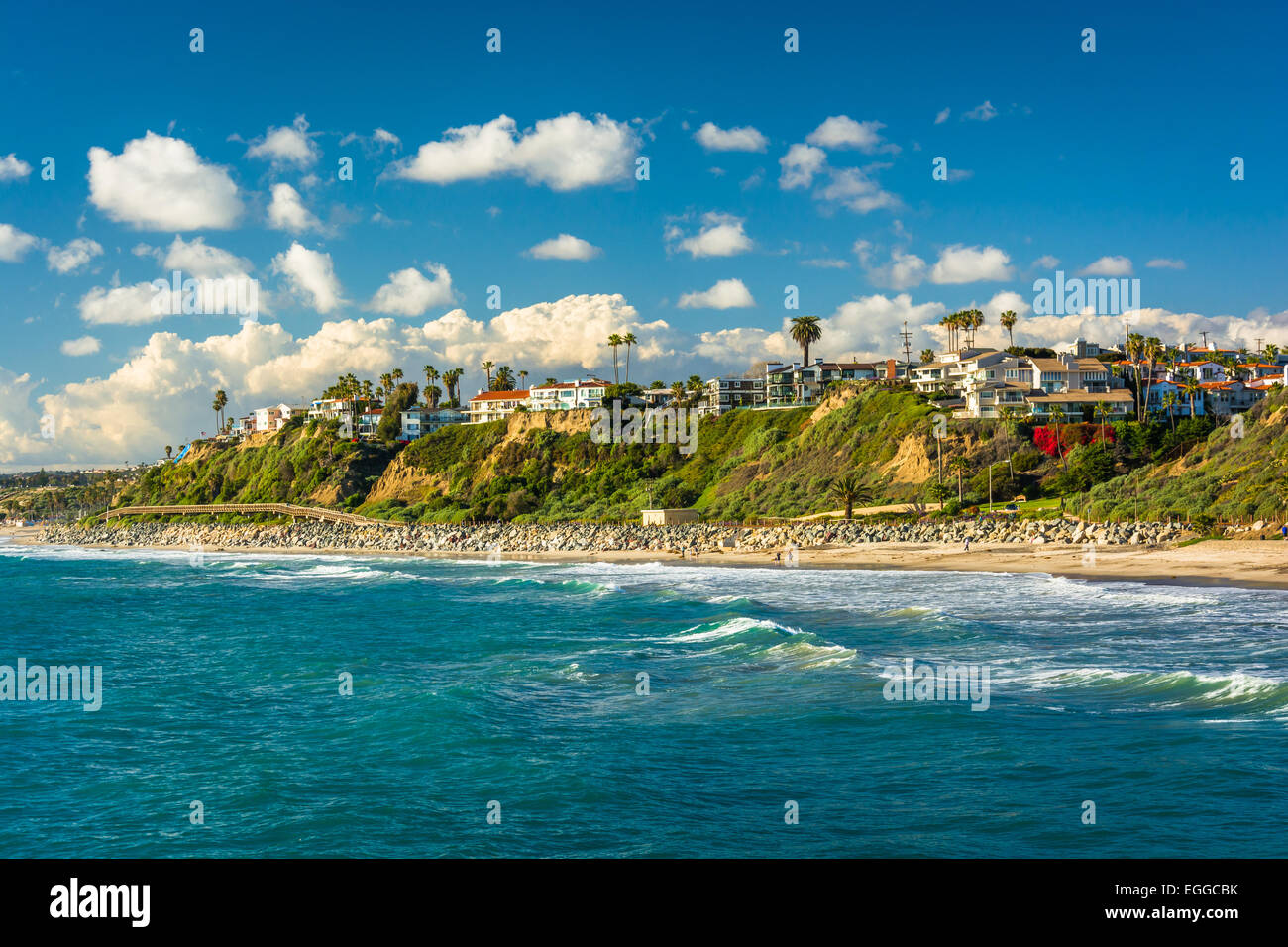 View of cliffs along the beach in San Clemente, California. Stock Photo
