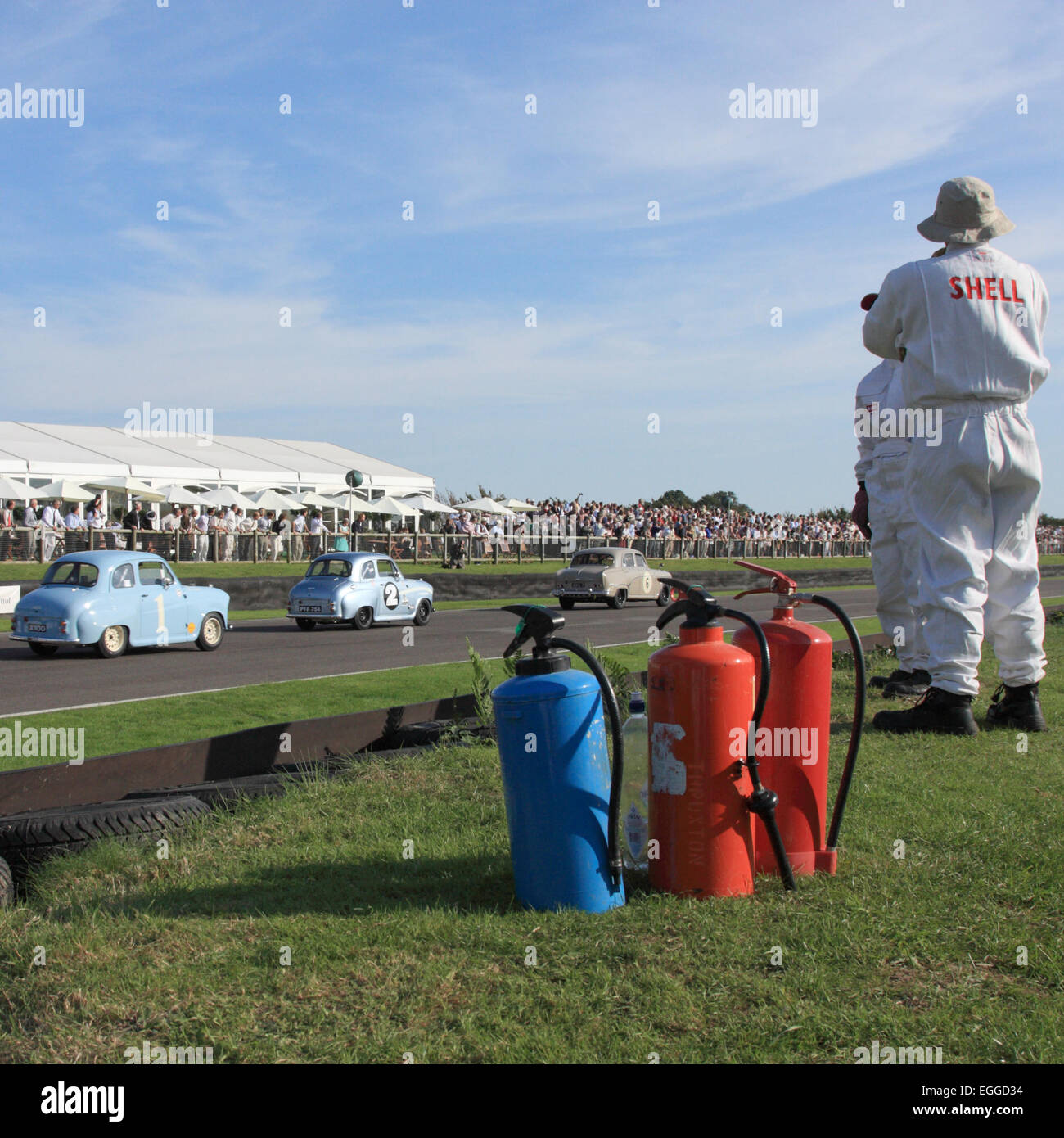 Fire marshals on the main straight / Goodwood Revival / Goodwood / UK - Stock Image