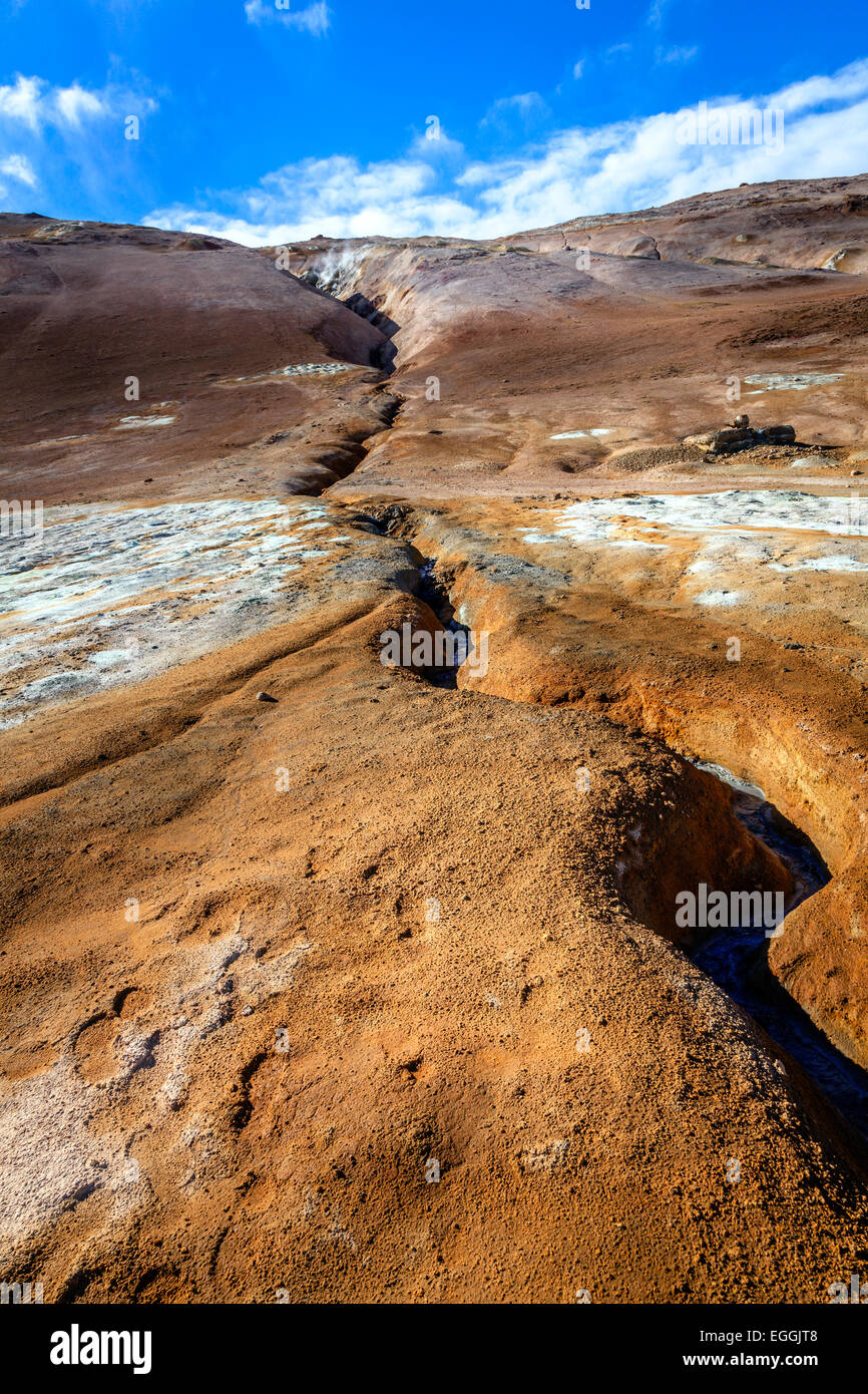 Fissure in the ground in Hverir - geothermal field in Northern Iceland - Stock Image