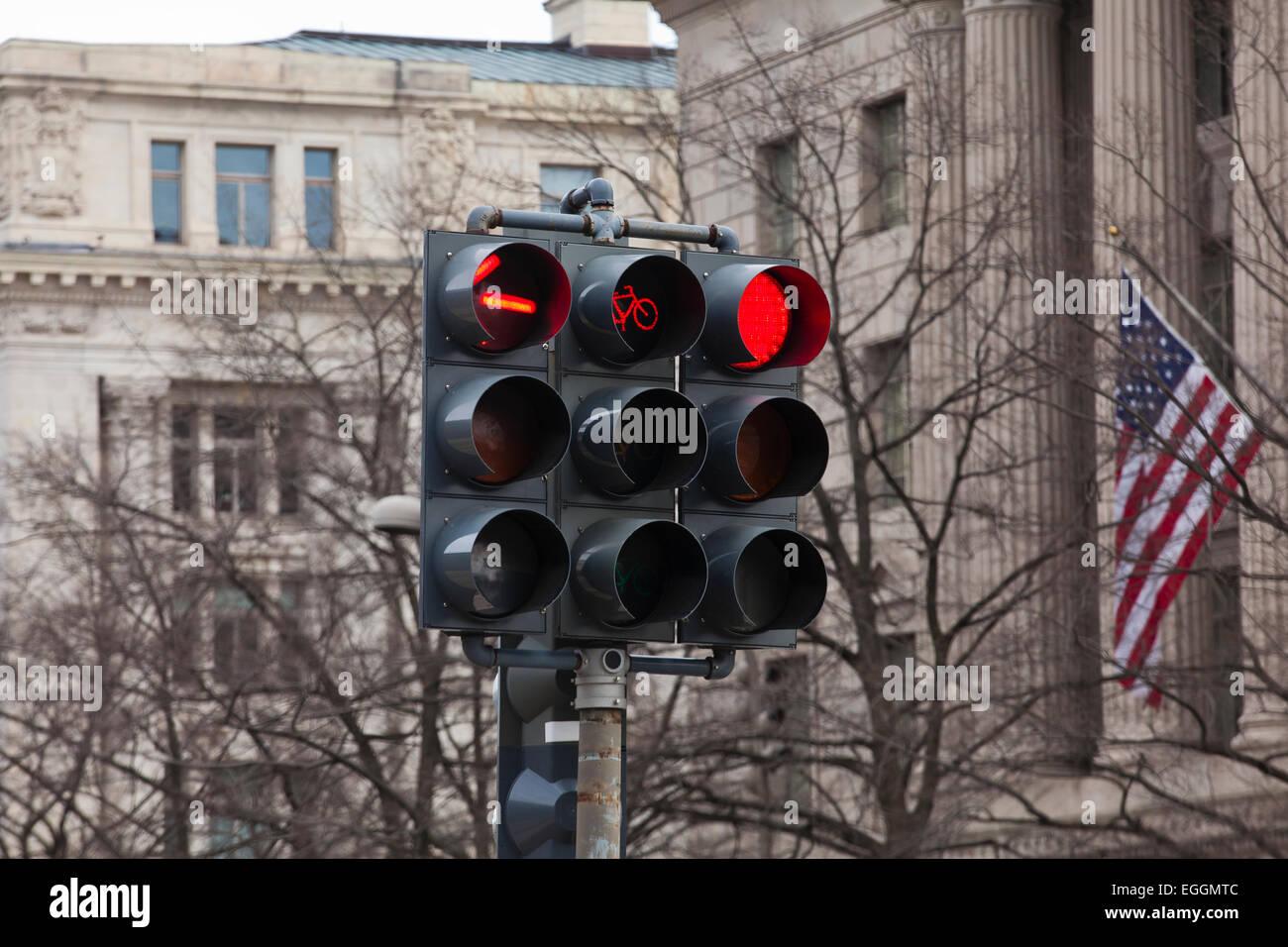 Traffic lights (traffic signal lights) - USA - Stock Image