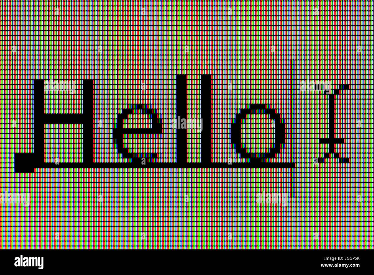 Closeup of word 'Hello' on LCD computer screen - Stock Image