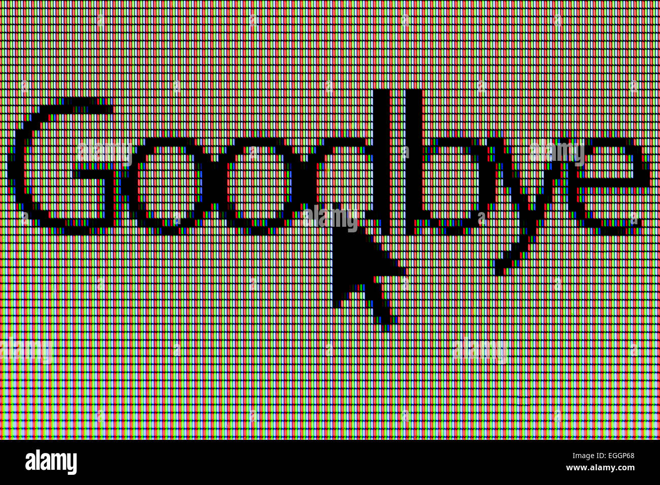 Closeup of word 'Goodbye' on LCD computer screen - Stock Image