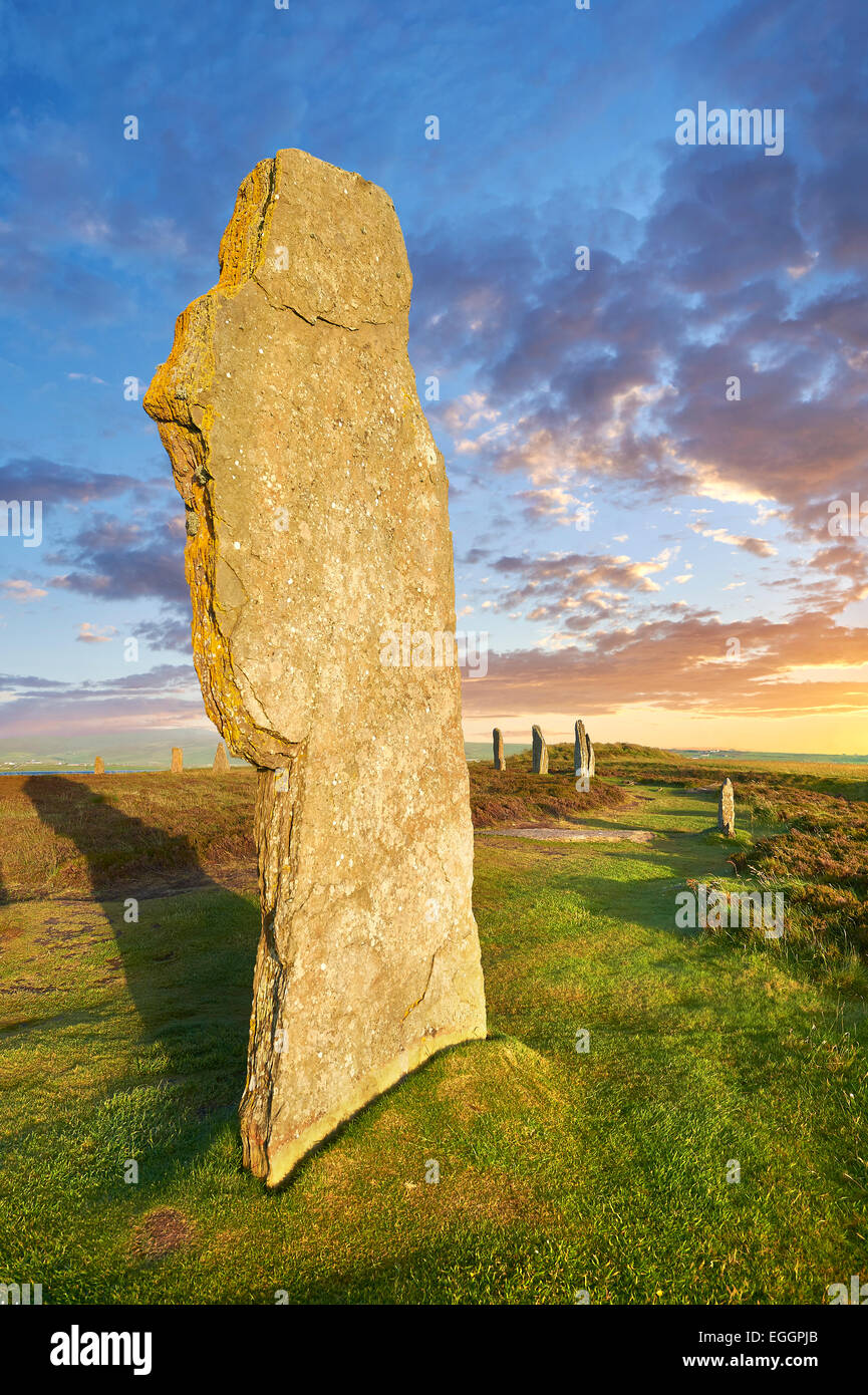 The Ring of Brodgar, 2,500 to circa 2,000 BC, a Neolithic stone circle or henge a UNESCO World Heritage Site, Orkney, - Stock Image