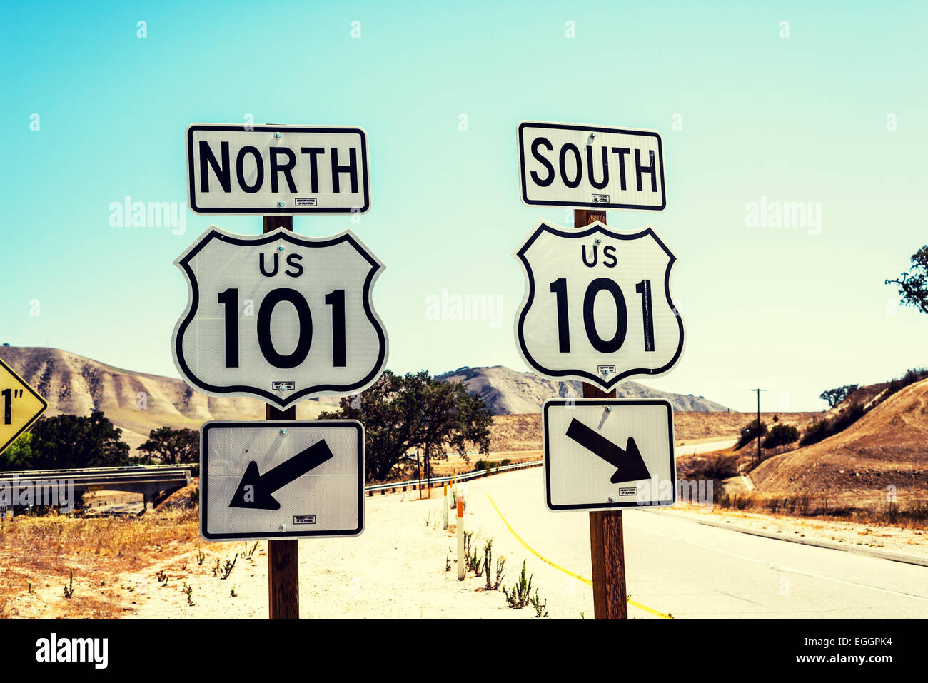 U.S. Highway 101 North and South road signs. California, United States. - Stock Image