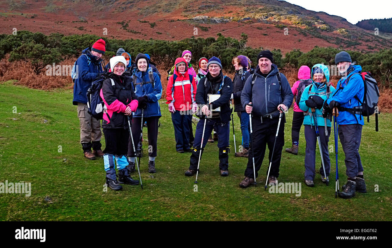 Hill walkers on Tain Trail in Cooley Mountains in Carlingford Co. Louth Ireland, posing for a photograph - Stock Image
