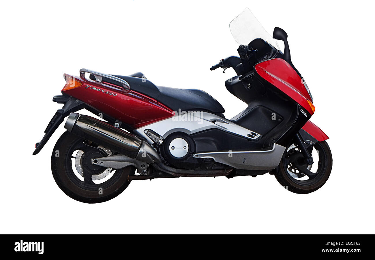 Yamaha T Max 500 maxi scooter cut-out on white background - Stock Image
