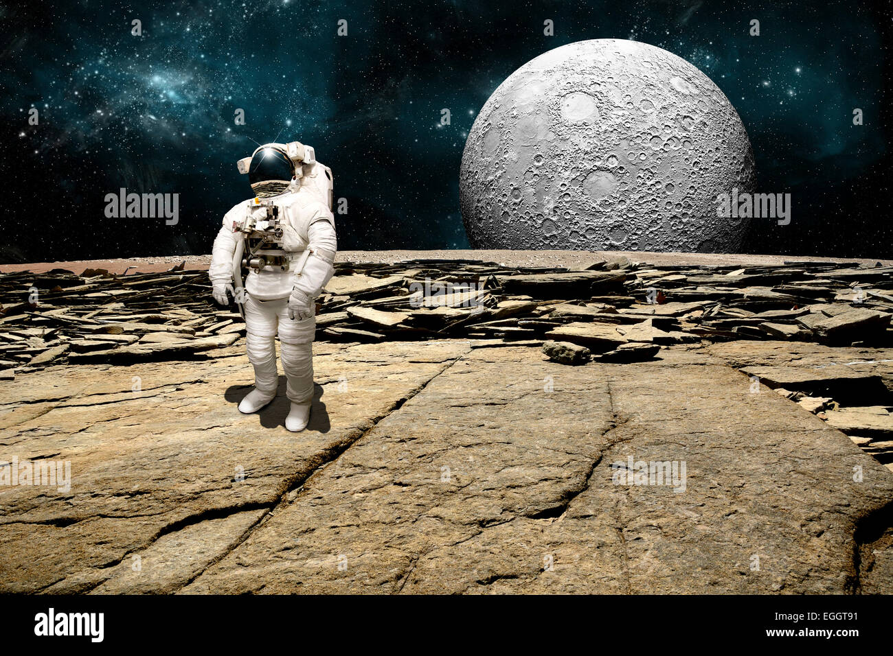 An Astronaut Surveys His Situation After Being Marooned On A Barren