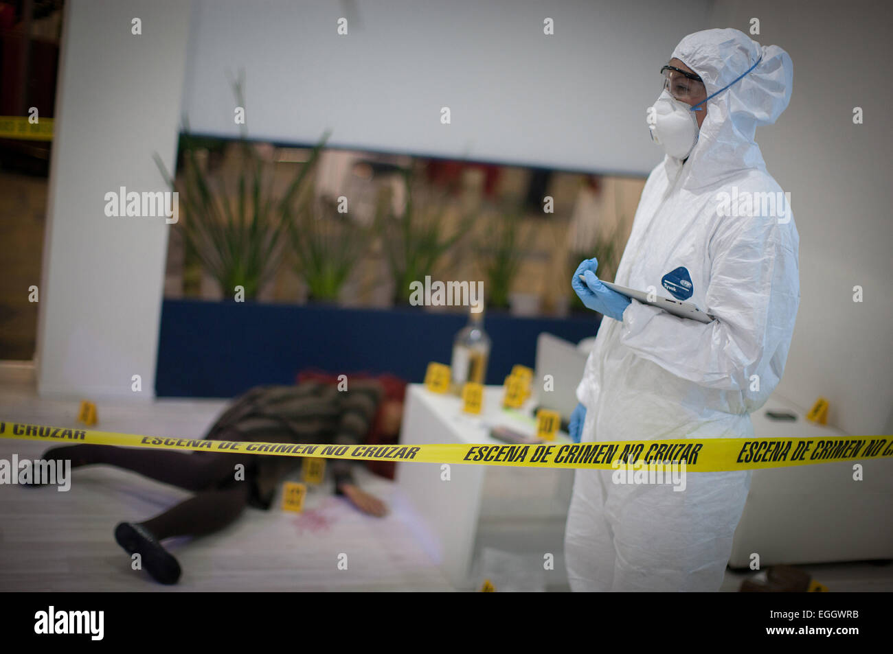 Mexico City, Mexico. 24th Feb, 2015. A staff member of the Federal Police scientific division takes part in the - Stock Image