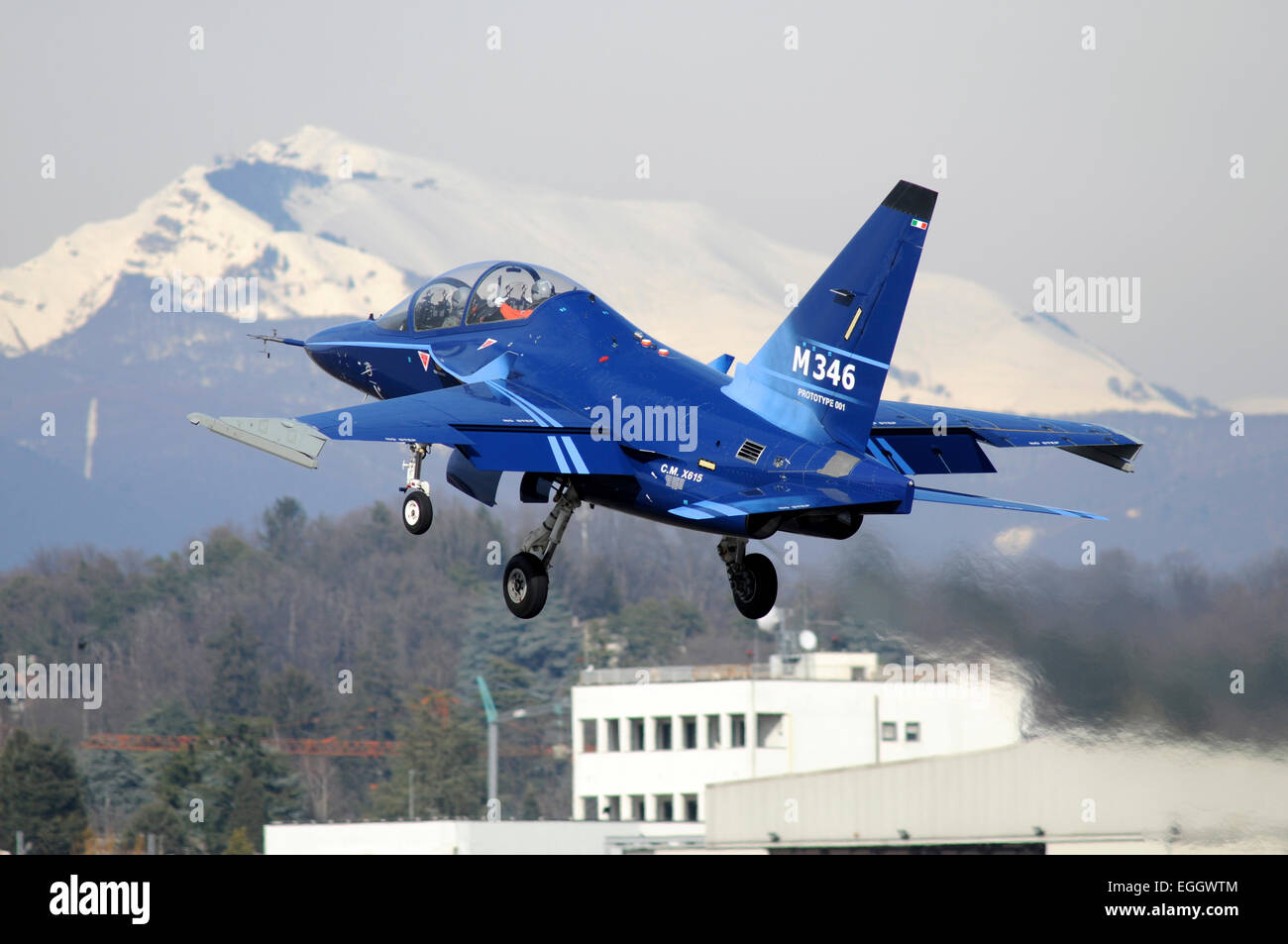 Alenia Aermacchi M-346 Master first prototype taking off from Venegono Airport, Italy. - Stock Image