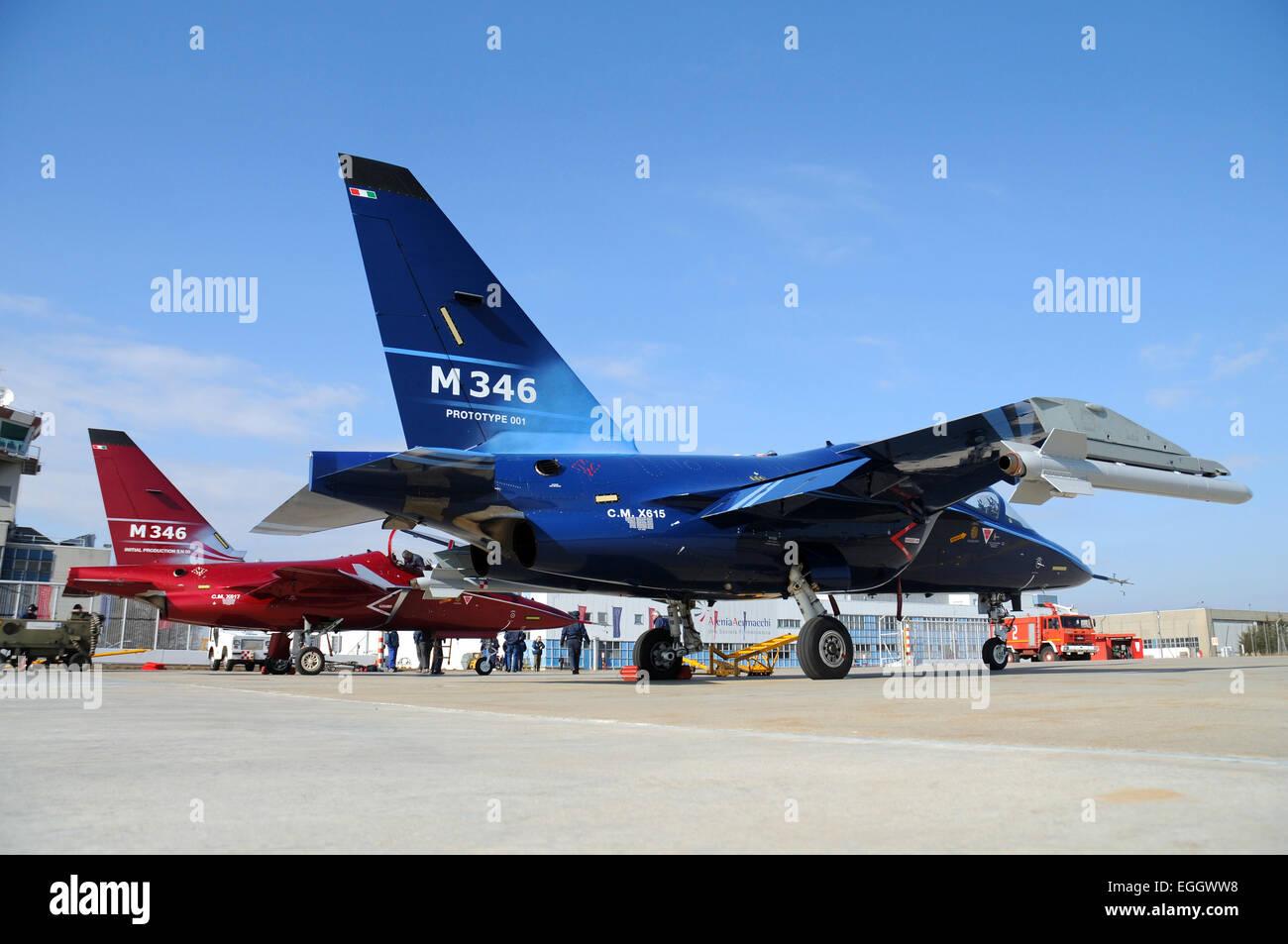 Alenia Aermacchi M-346 Master first and third prototypes taken at Venegono Airport, Italy. - Stock Image