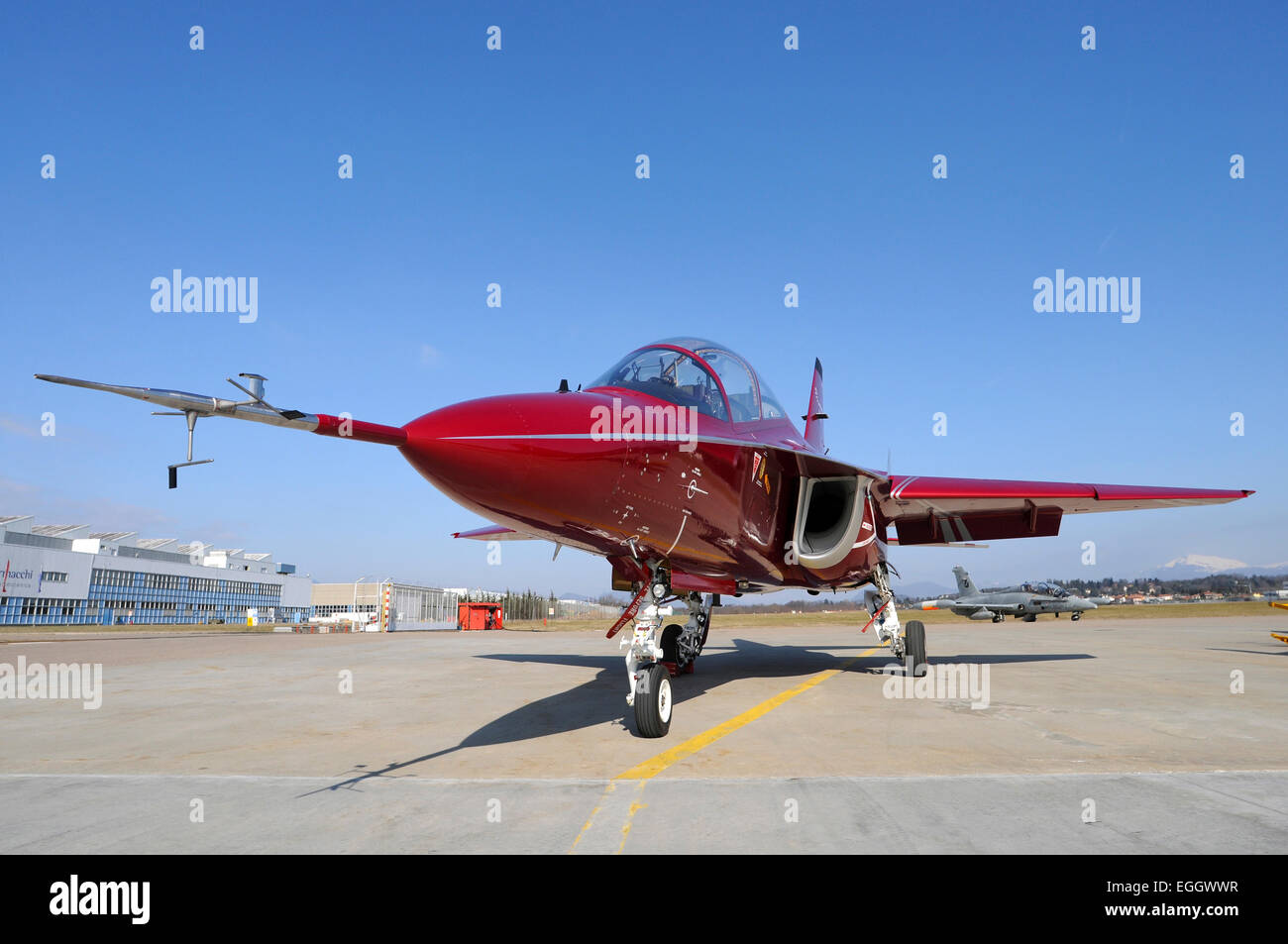 Alenia Aermacchi M-346 Master third prototype parked at Venegono Airport, Italy. - Stock Image