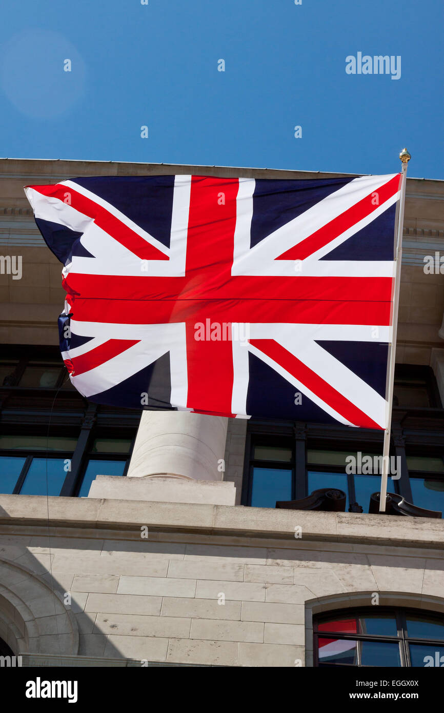 Unilever House decorated with a Union Jack flag, London, England - Stock Image