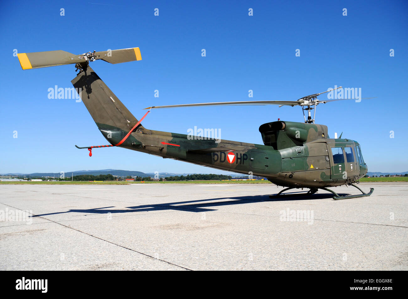 Agusta-Bell AB212 helicopter of the Austrian Air Force on the base at Linz, Austria. Stock Photo