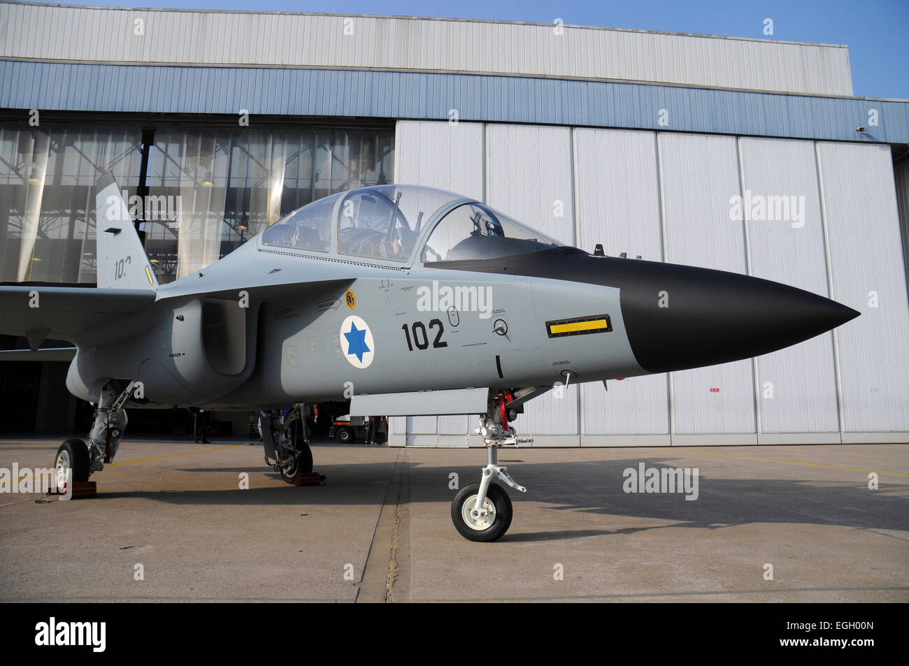 The first Alenia Aermacchi M-346I Lavi trainer of the Israeli Air Force taken at Venegono Airport, Italy. - Stock Image