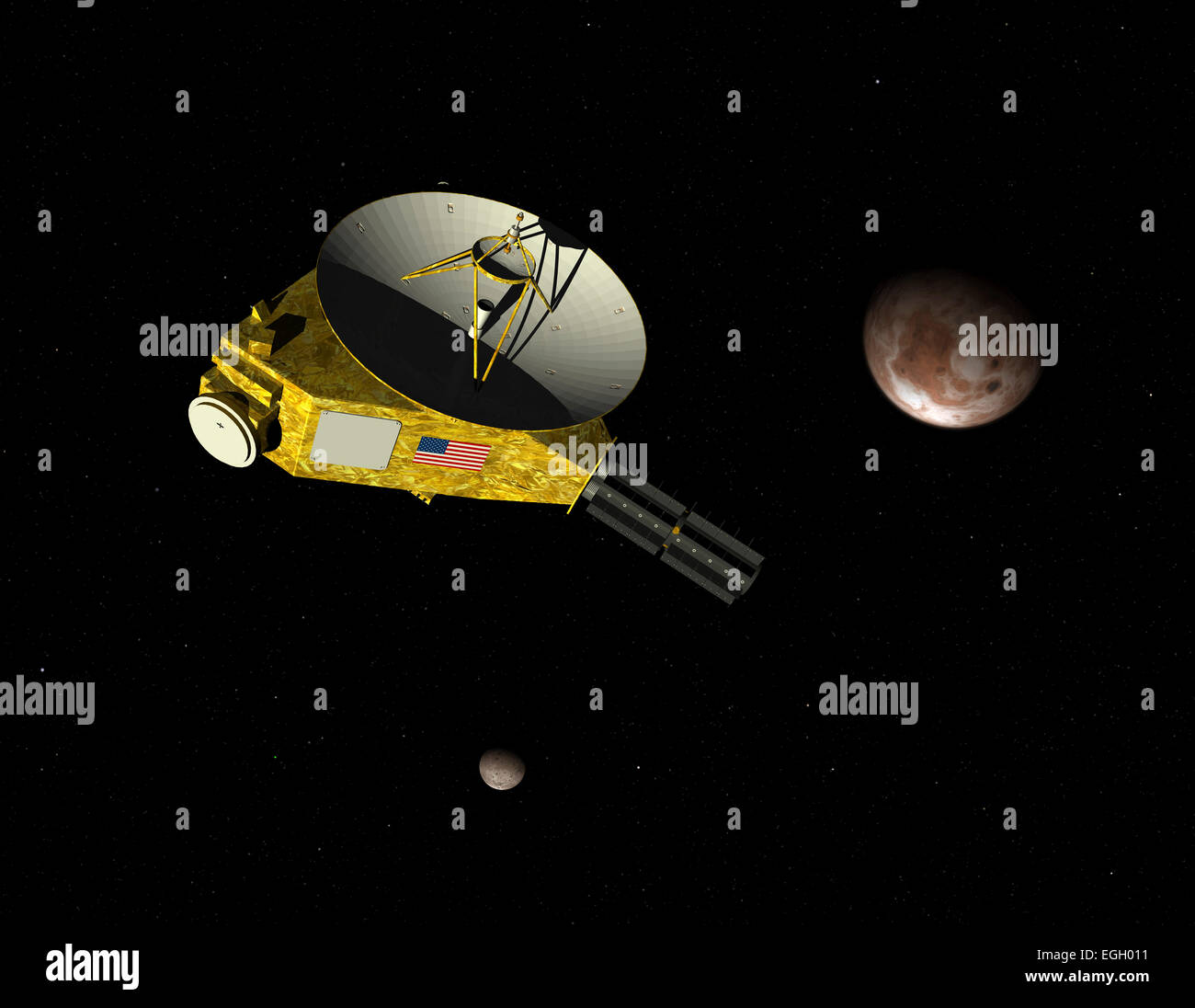 NASA's New Horizons unmanned spacecraft approaches dwarf planet Pluto and its moon Charon. New Horizons has been - Stock Image