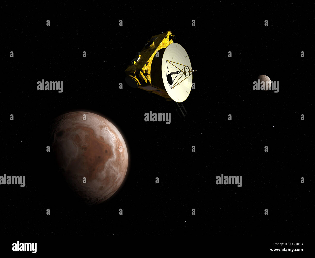 NASA's New Horizons unmanned spacecraft flies by dwarf planet Pluto and its moon Charon. New Horizons has been en - Stock Image
