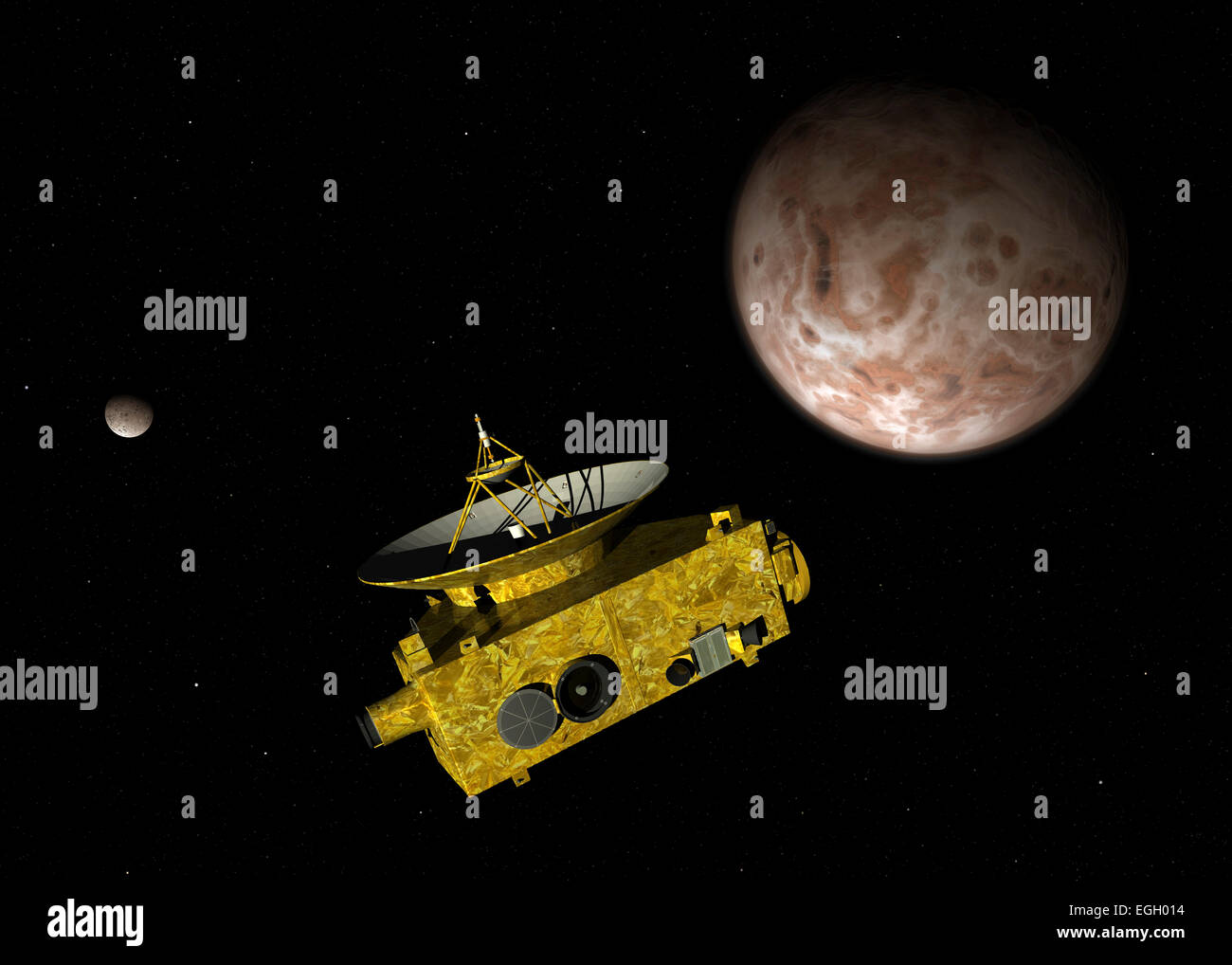 NASA's New Horizons unmanned spacecraft over dwarf planet Pluto and its moon Charon. New Horizons has been en route - Stock Image