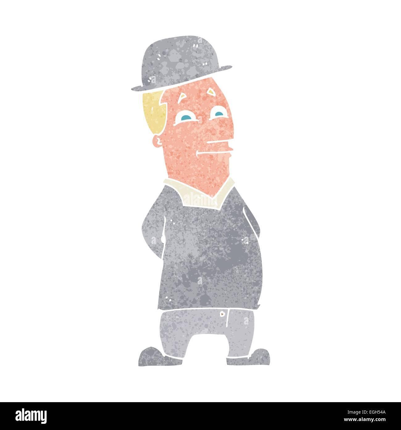 Cartoon Man Wearing British Bowler Hat Stock Vector Art