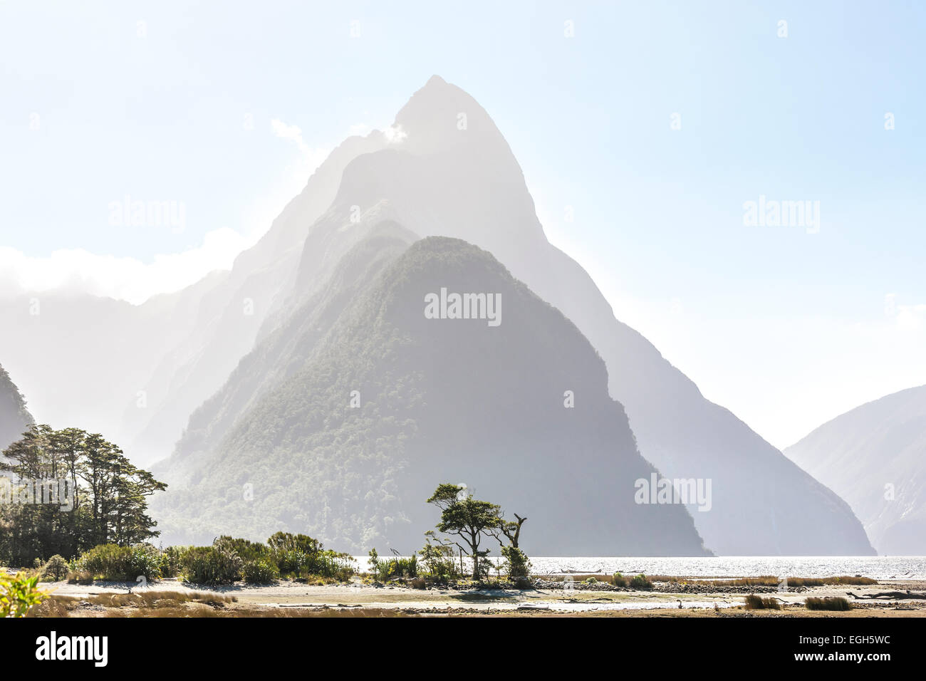 New Zealand Milford Sound with Mitre Peak in Fiordland National Park New Zealand - Stock Image