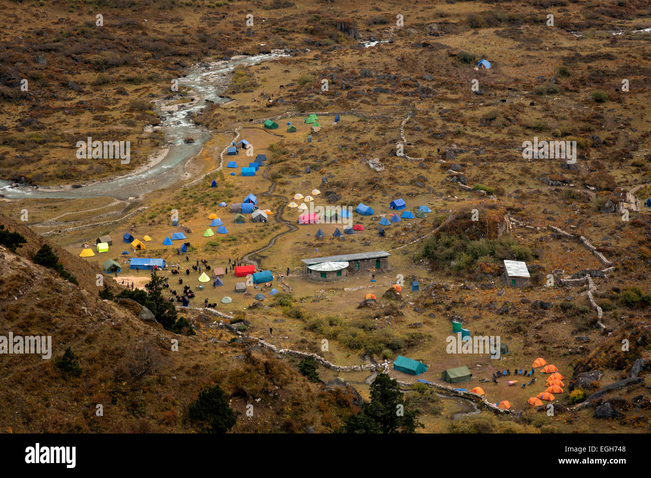 BU00200-00...BHUTAN - The very busy Jangothang Campsite in the open valley along the banks of the Paro River. - Stock Image
