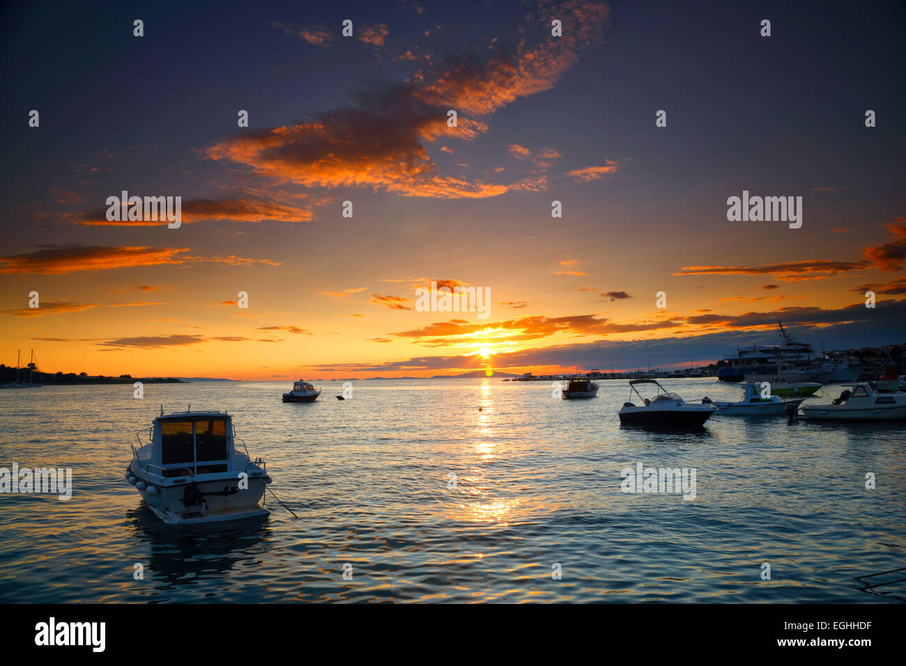 Sunset landscape, Novalja, Croatia Stock Photo