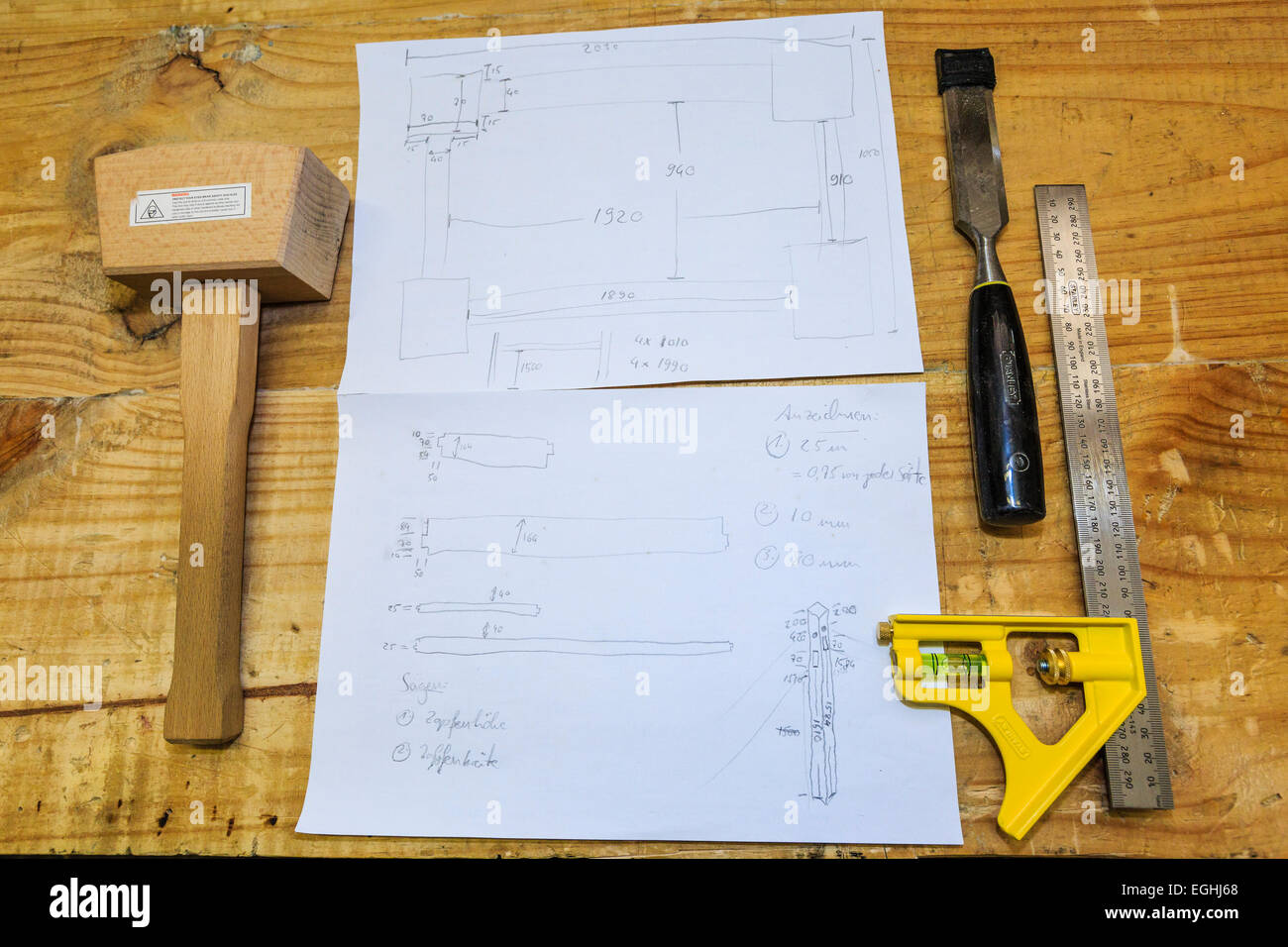 Woodworking tools and a construction plan - Stock Image