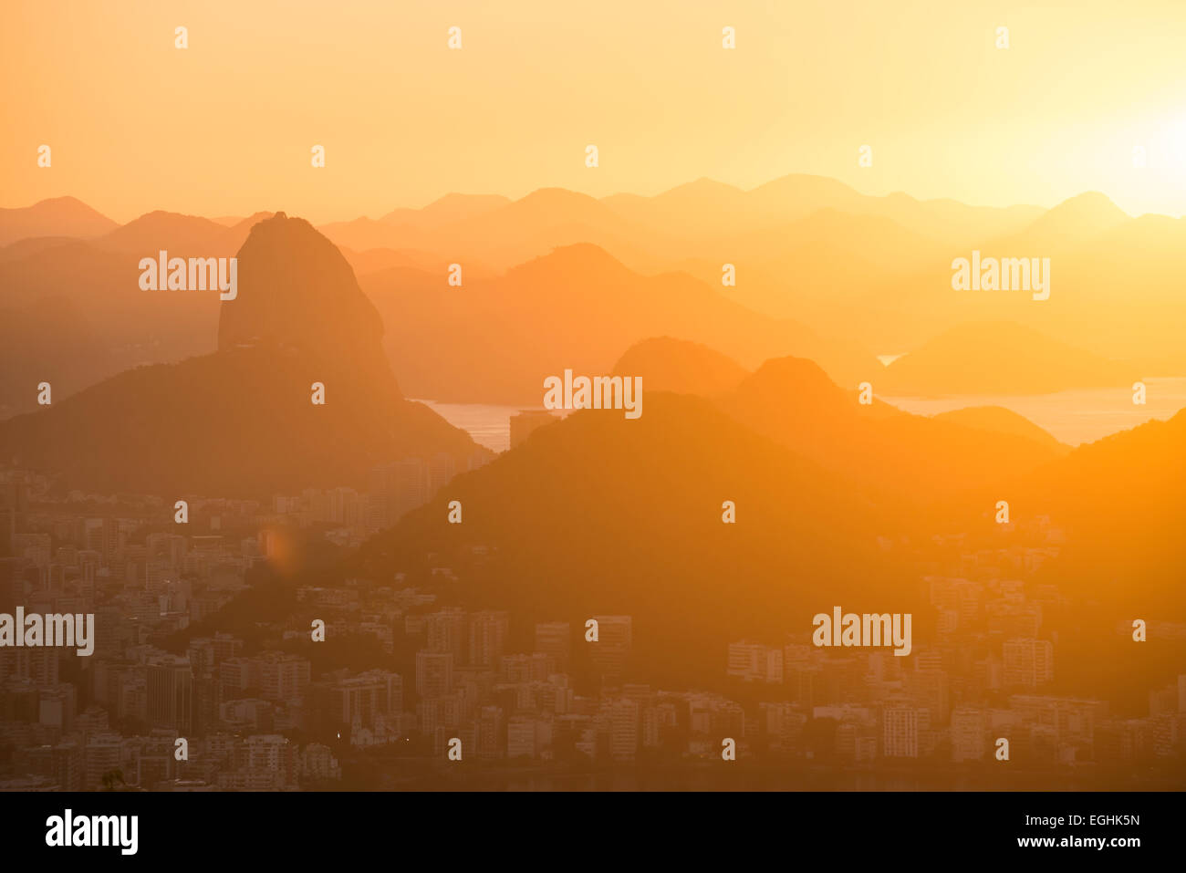 View from Chinese Vista at dawn, Rio de Janeiro, Brazil Stock Photo