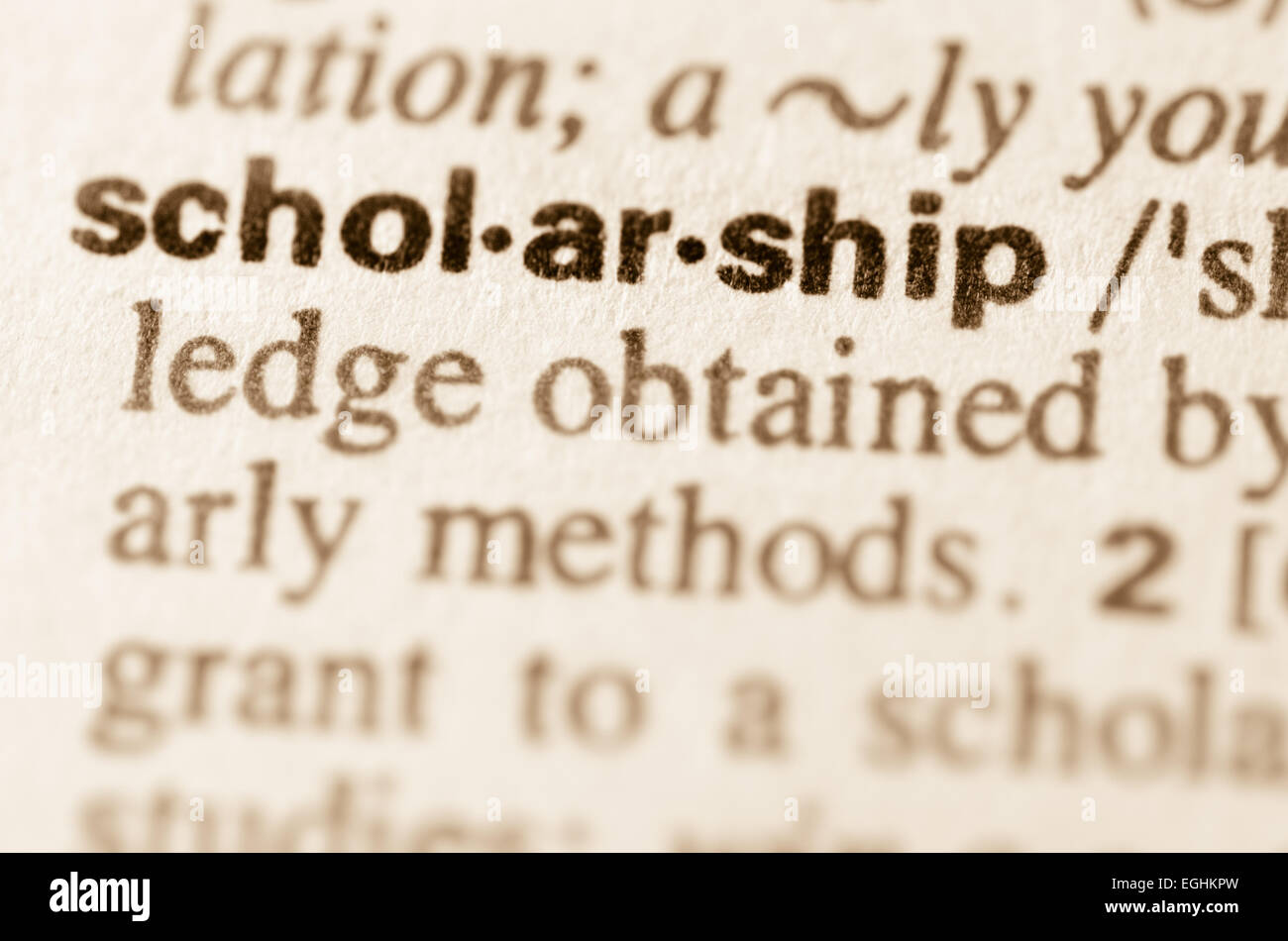 Definition of word scholarship in dictionary - Stock Image