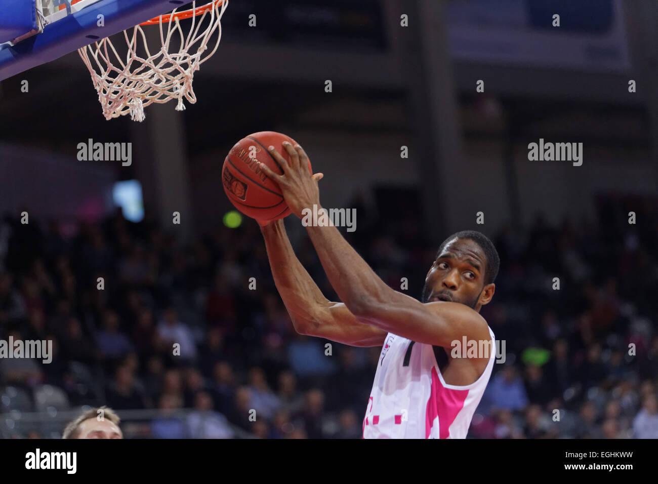 BONN - GERMANY, 24.02.2015, basketball cup qualifier, Telekom Dome, Telekom Baskets vs BG Goettingen: Ryan Brooks Stock Photo