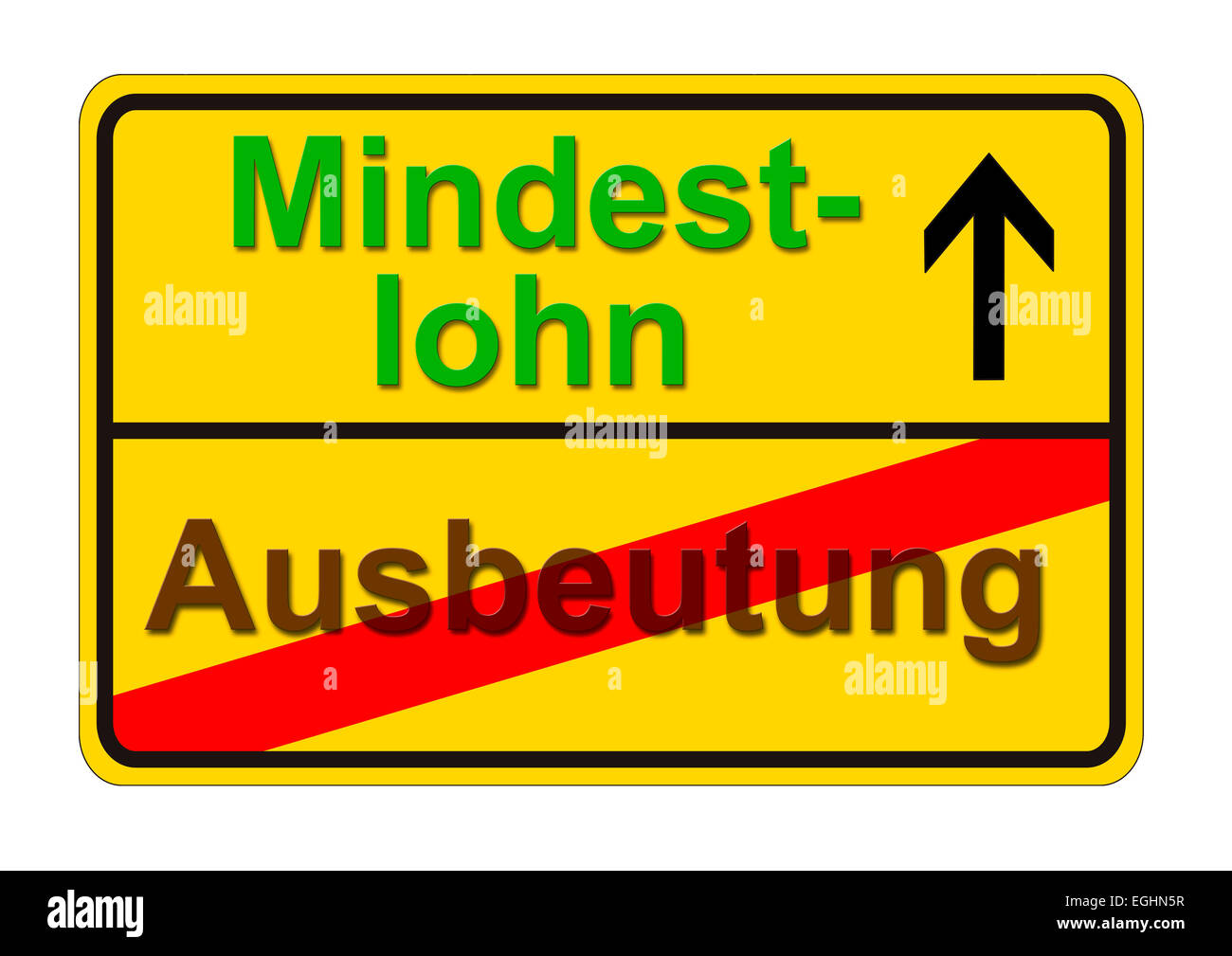 german traffic sign shows the way from exploitation to minimum wage - Stock Image