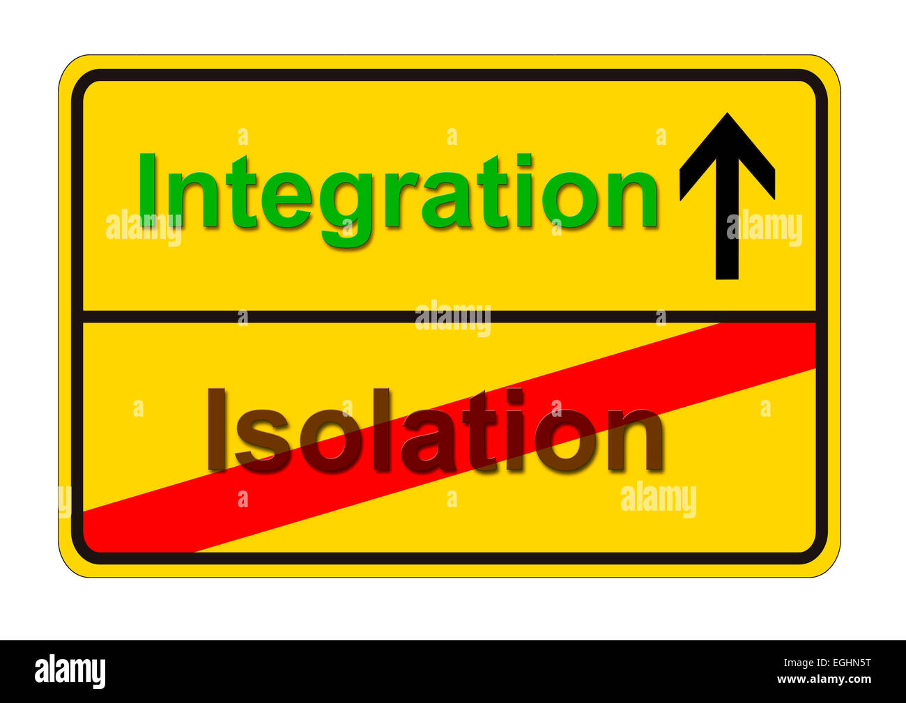 german traffic sign shows the way from isolation to integration - Stock Image