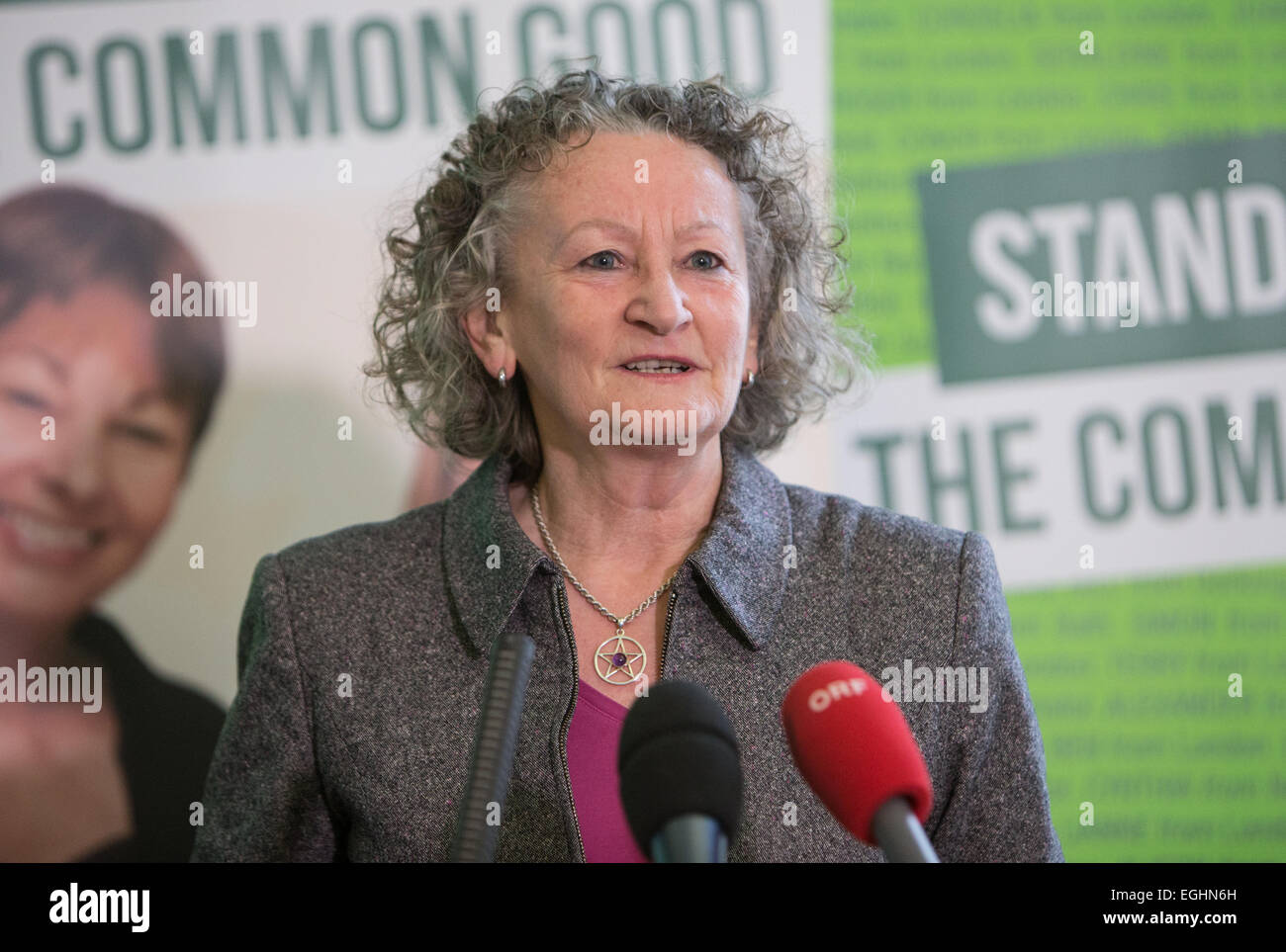 Baroness Jenny Jones of Mouselcoomb speaking at the launch of the Green party's election campaign - Stock Image