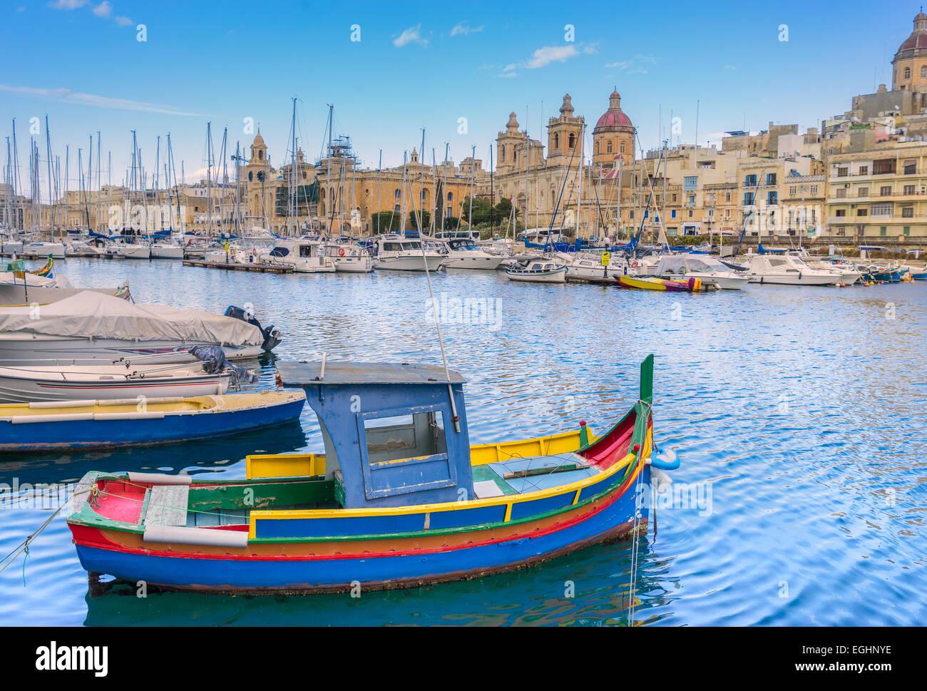 Dockyard creek in Valletta - Stock Image