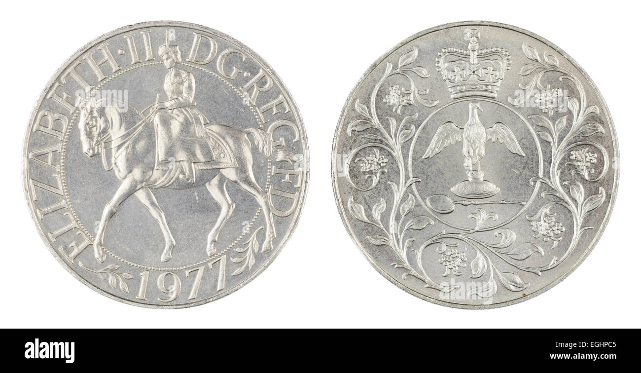 Silver Jubilee coin. Both sides of a British1977 Silver Jubilee crown coin. - Stock Image