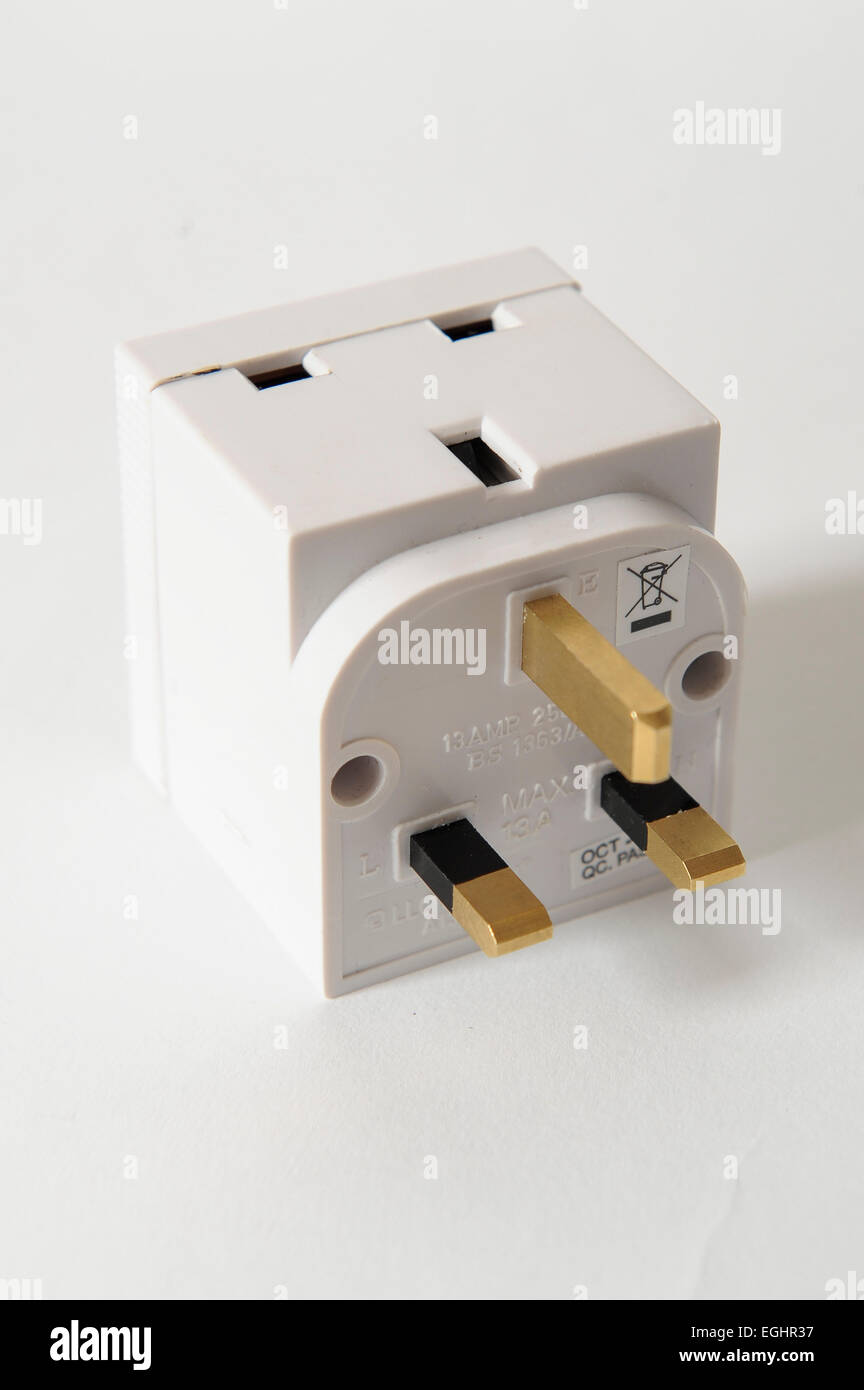 A transmitting spy plug adapter. This can be hidden in a room and transmit peoples conversations. - Stock Image