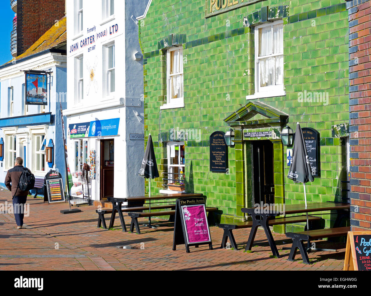 Quayside pubs in Poole, Dorset, England UK - Stock Image