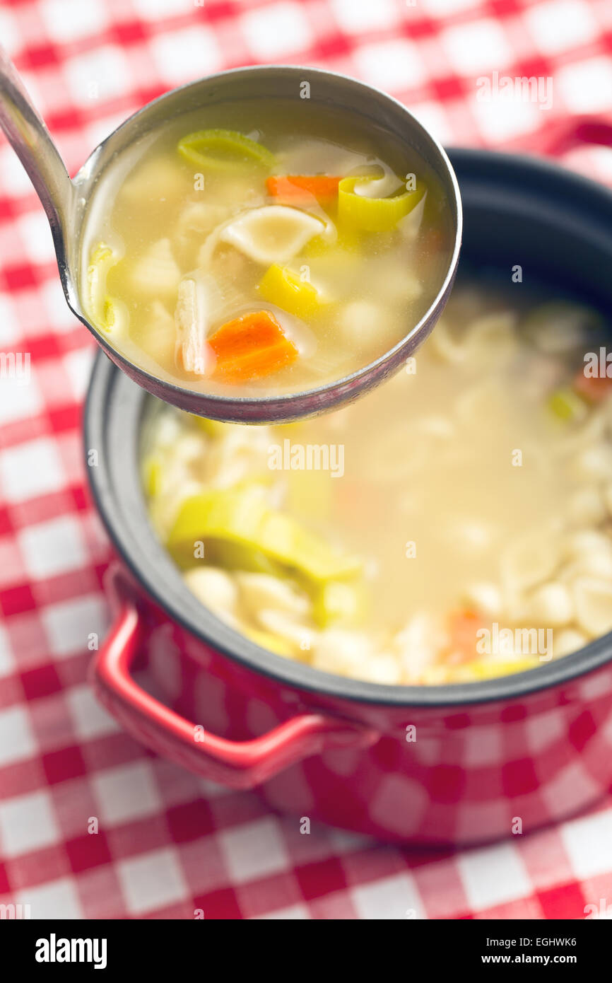 vegetable soup with pasta in soup ladle - Stock Image