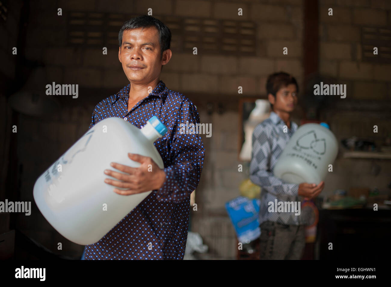 Water Purification company in Banteay Chhmar, Cambodia. The company purify 200 twenty liter bottles a day. - Stock Image
