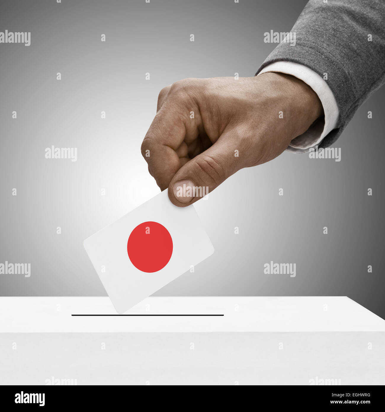 Black male holding flag. Voting concept - Japan Stock Photo