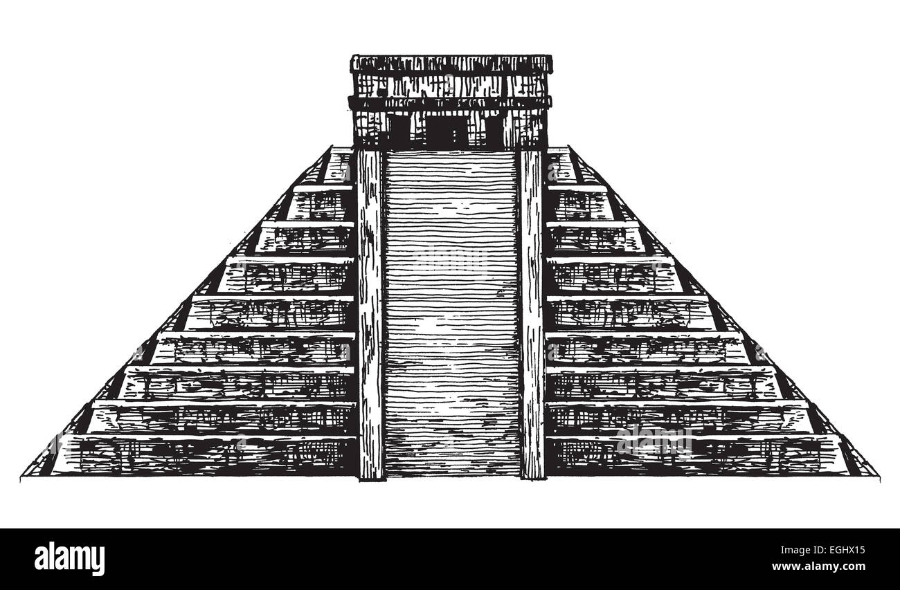 Mexico. Mexican pyramid on a white background. sketch - Stock Image