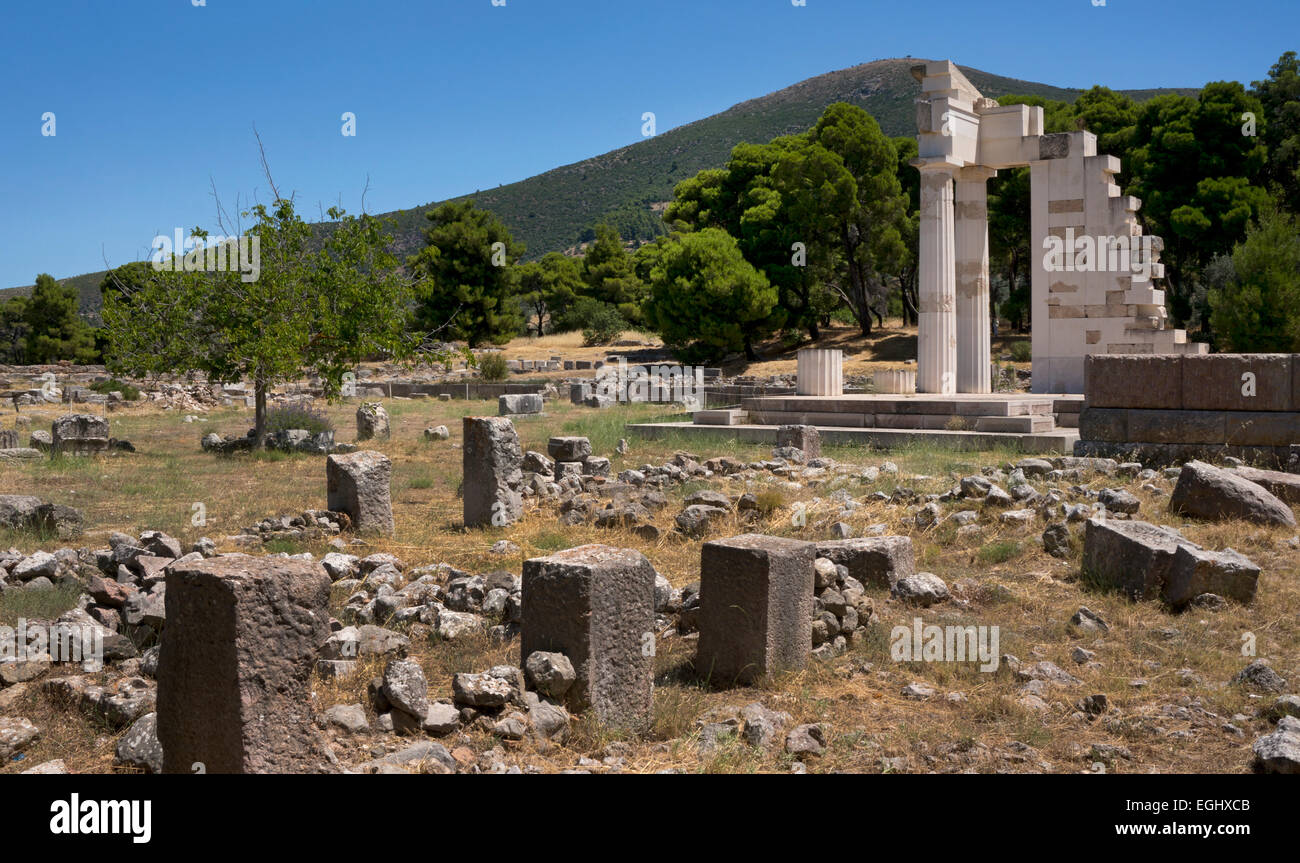 Ruins at Epidaurus, Argolida, Peloponnese, Greece, Europe - Stock Image