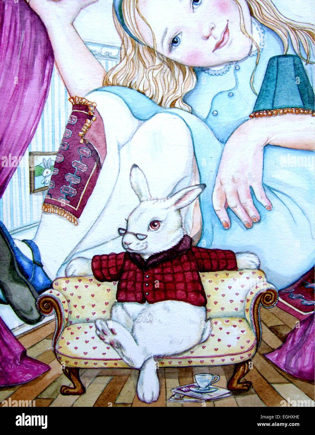 Alice and The White Rabbit - Contemporary watercolour illustration. - Stock Image