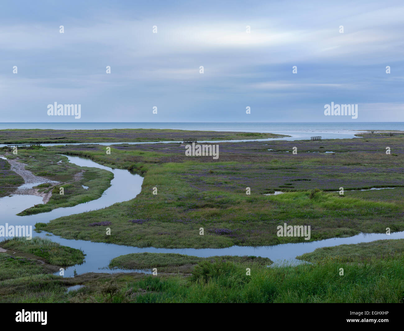 The tide coming in over the Saltmarshes at Stiffkey, North Norfolk, England Stock Photo