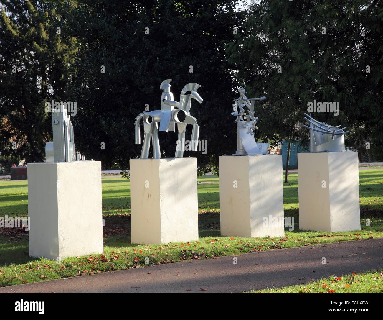 25th anniversary sculptures in Grove House Gardens, Dunstable, Bedfordshire - Stock Image