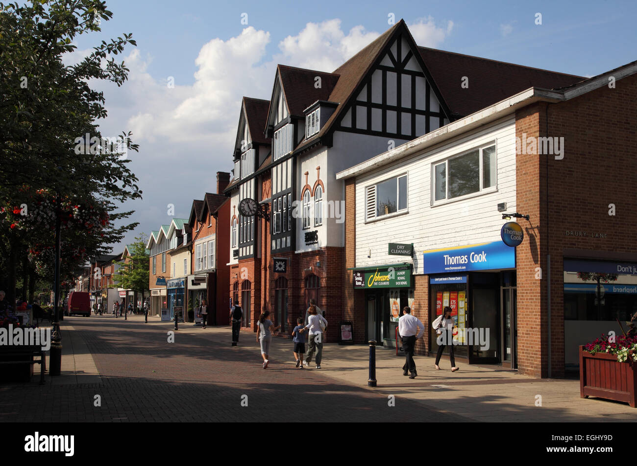 View along Solihull High Street, shops and retail area - Stock Image