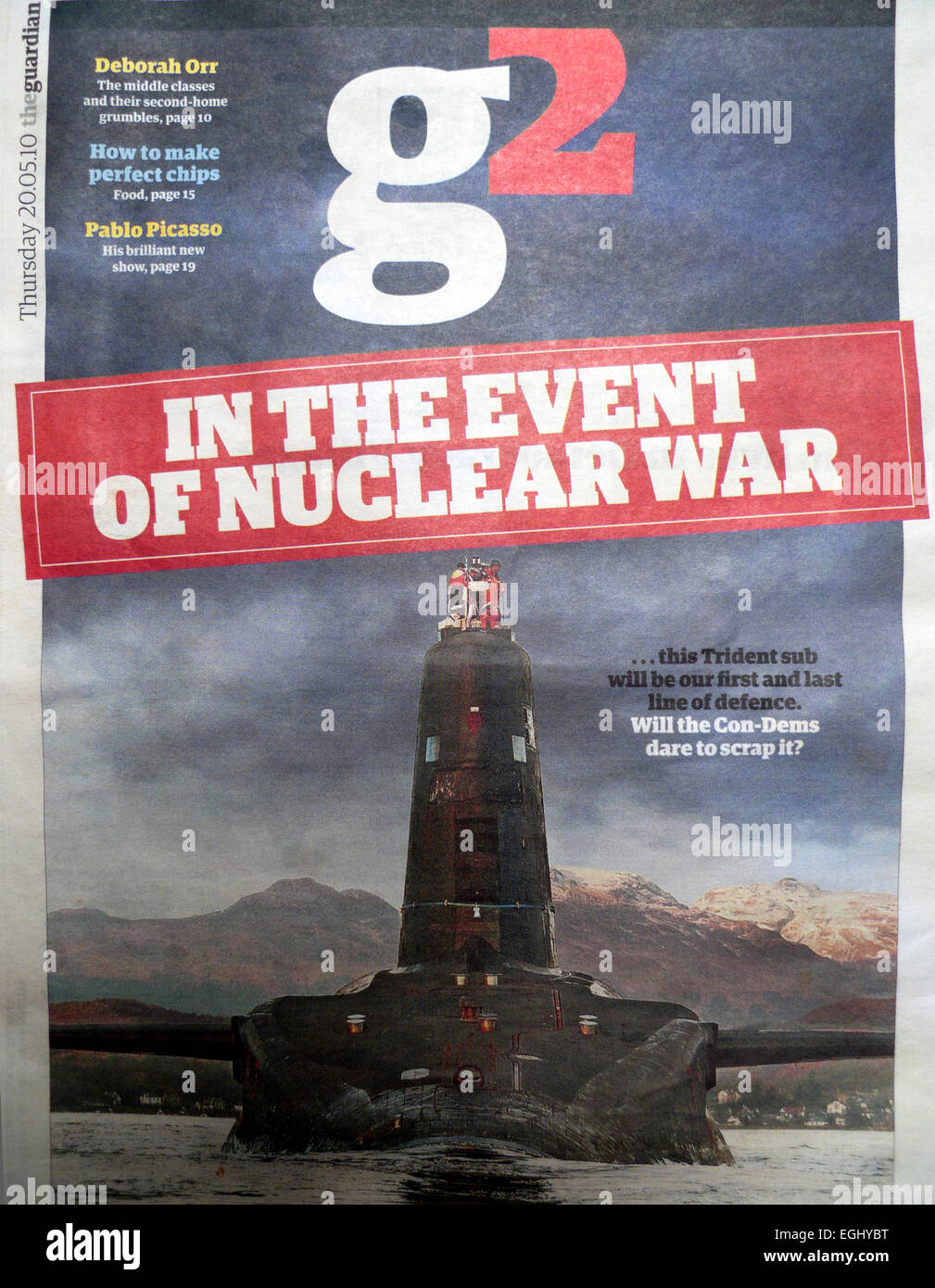 Guardian newspaper G2 section headline on front page Trident Submarine article In the Event of Nuclear War 20 May - Stock Image
