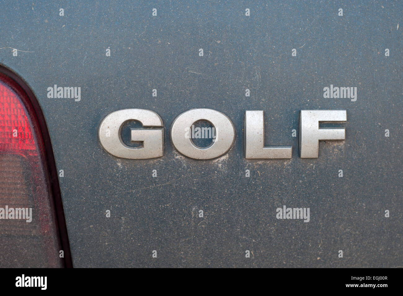VW Golf logo on the back of a car - Stock Image