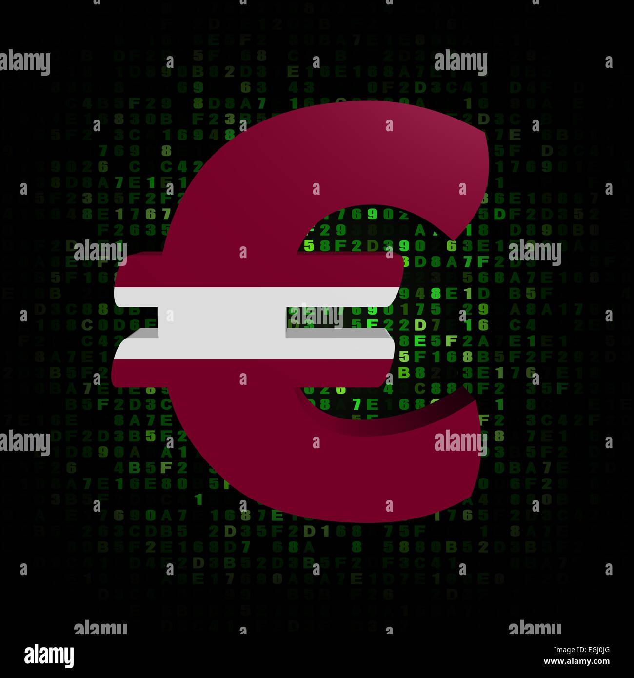 Euro Symbol With Latvian Flag On Hex Code Illustration Stock Photo