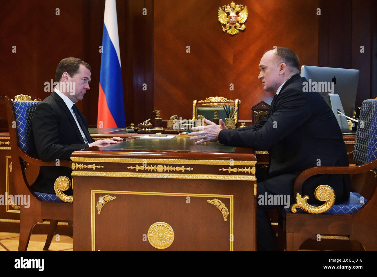 Moscow Region, Russia. 25th Feb, 2015. Russia's prime minister Dmitry Medvedev (L) meets with Chelyabinsk Region - Stock Image